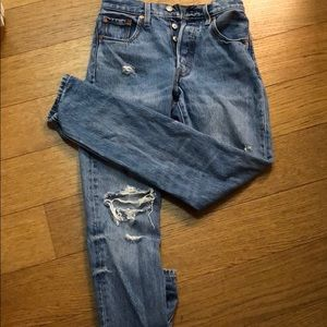 Levi's high waisted distressed boyfriend jeans